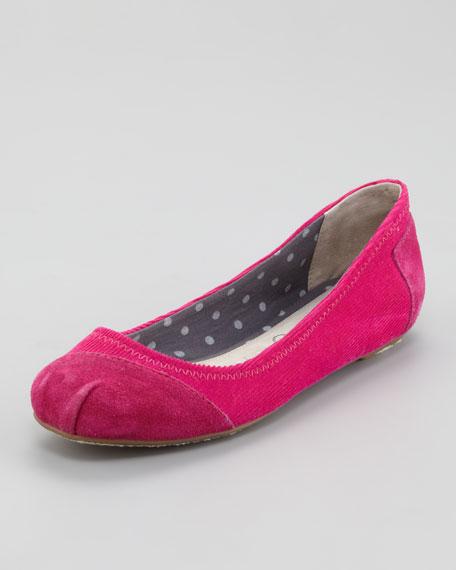 Corduroy-Suede Ballerina Flats