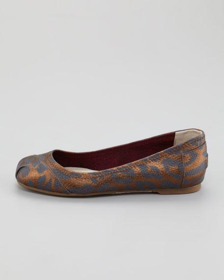Ramsey Leopard-Print Leather Ballerina Flat