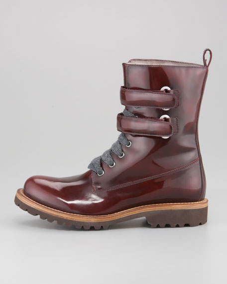 Shiny Leather Hiking Boot