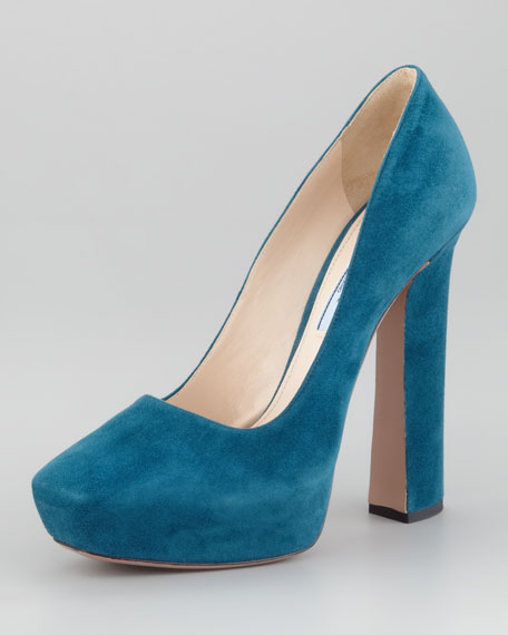 Internal Platform Square-Toe Suede Pump