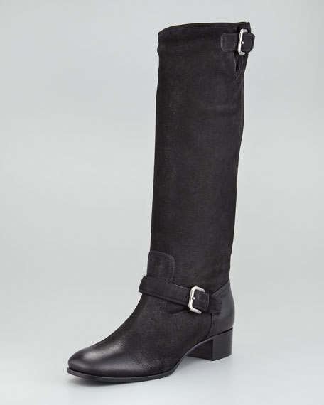 Distressed Leather Double-Buckle Boot