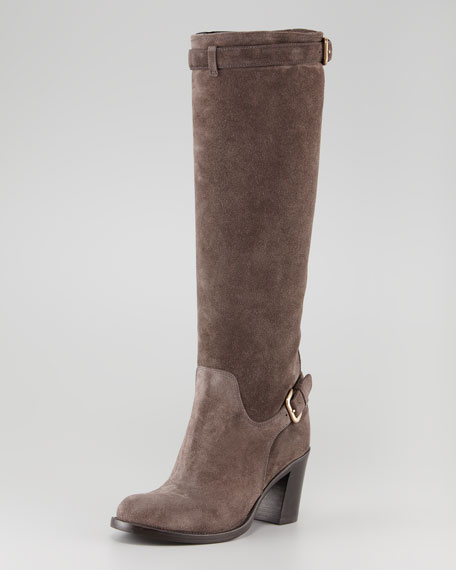 Double-Buckle Suede Boot