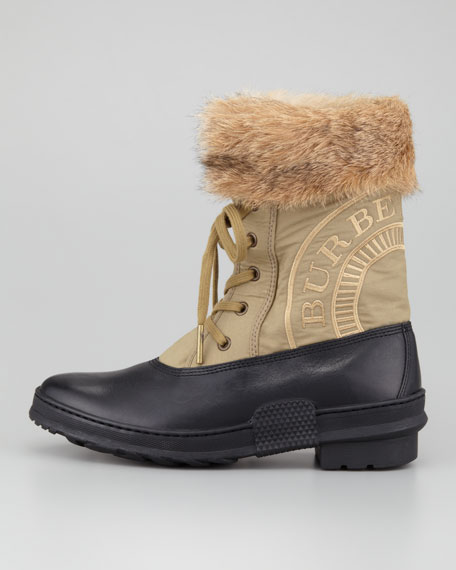 Lace-Up Fur-Trim Weatherproof Boot