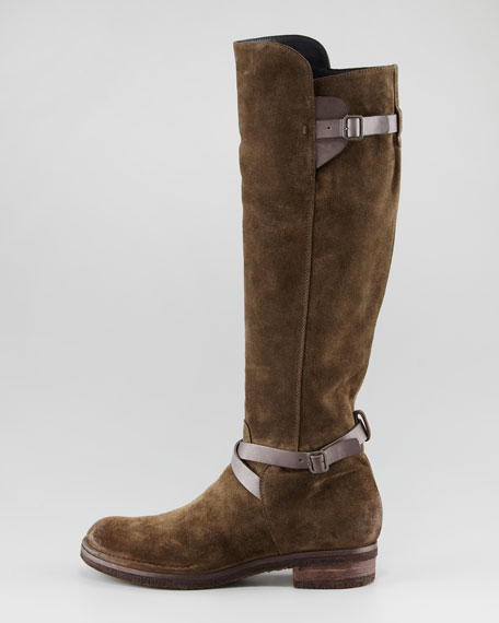 Suede Strappy Tall Boot