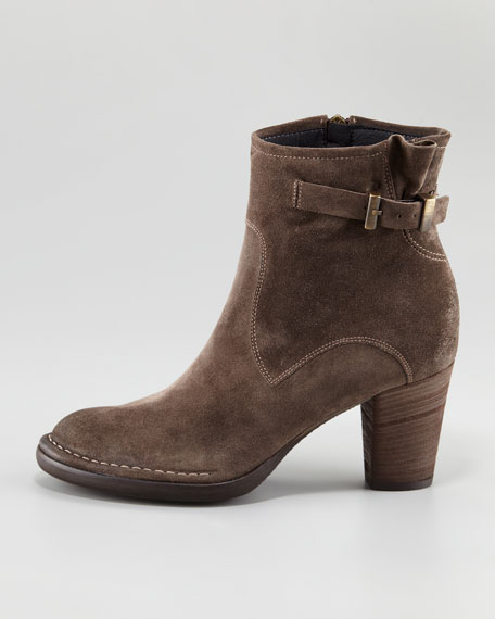 Suede Buckle-Detailed Ankle Boot