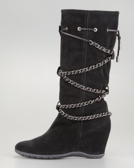 Vago Crisscross Chain Tall Boot