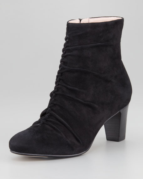 Dionne Suede Ruched-Front Bootie