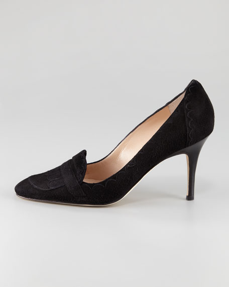 Sonan Suede Scalloped Loafer Pump