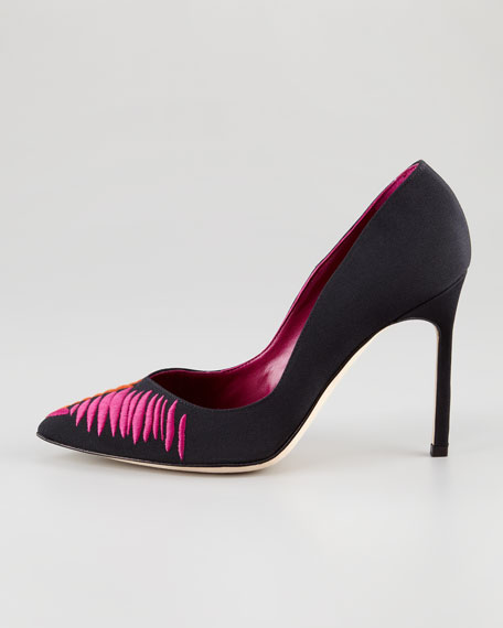 Rene Embroidered Pointed-Toe Pump