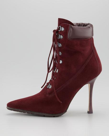 Oklamod Suede Lace-Up Bootie, Burgundy