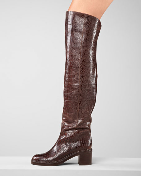 Over-the-Knee Crocodile-Embossed Boot