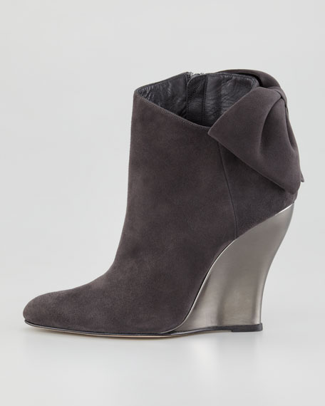Bow-Back Suede Wedge Ankle Boot
