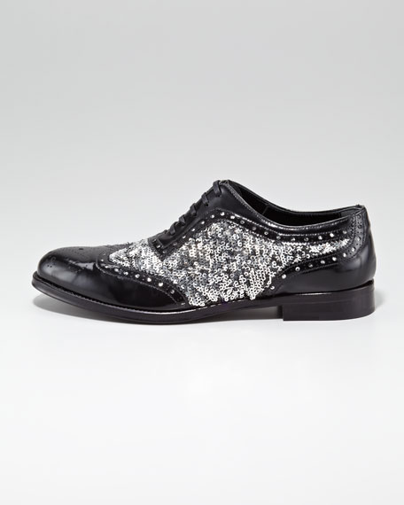 Sequined Patent Leather Lace-Up Oxford