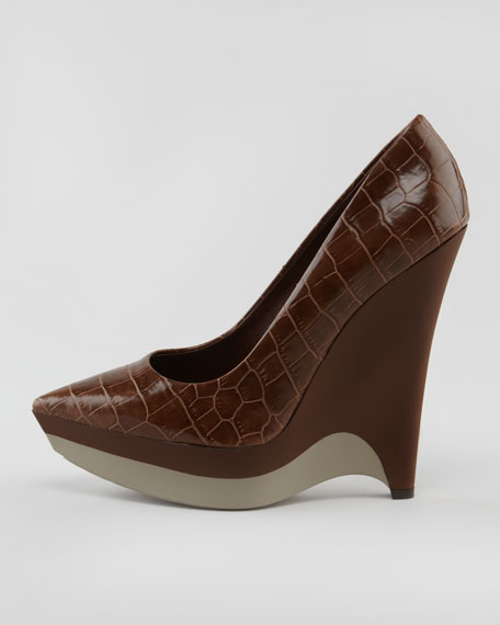 Rubber-Wedge Faux Croc Pump
