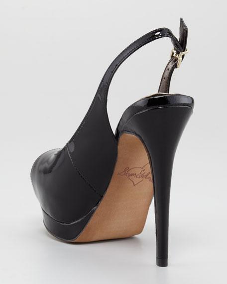 Penelope Slingback Peep-Toe Pump, Black