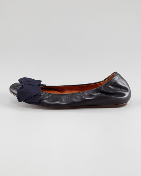 Grosgrain-Bow Leather Ballerina Flat