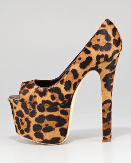 Alesha Leopard-Print Calf Hair Platform Pump