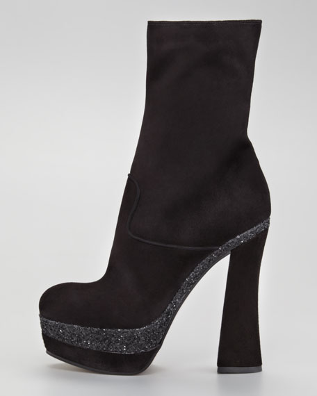 Suede Mid-Calf Glitter Boot