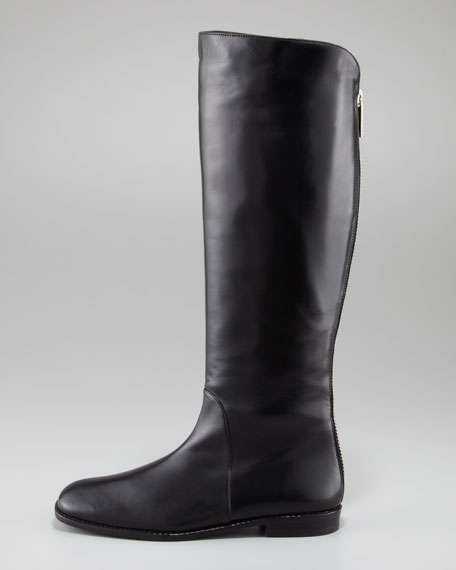 Backstage Back-Zip Leather Boot