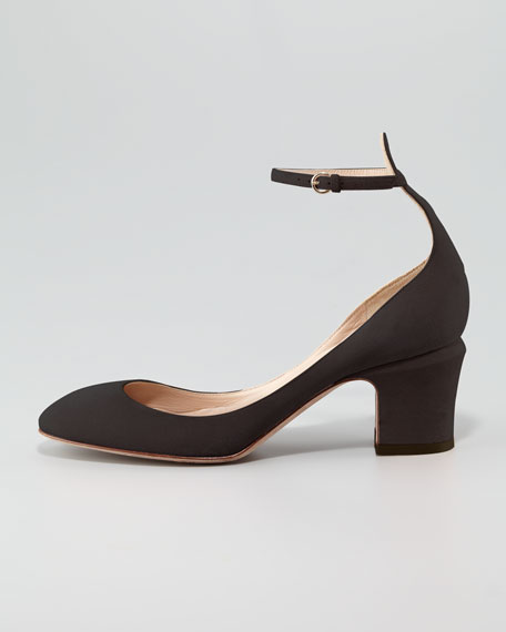 Suede Low-Heel Ankle-Strap Pump