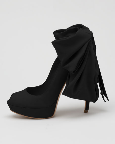 Bow-Back Suede Pump