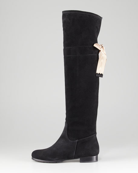 Bow-Back Suede Knee Boot