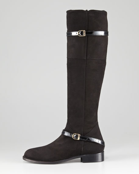 Patent-Trimmed Suede Flat Boot