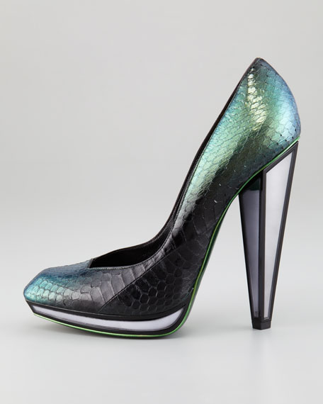 Snakeskin Mirror-Heeled Pump