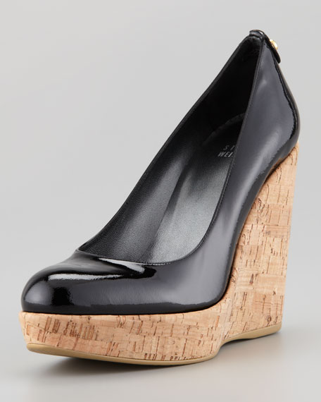 Corkswoon Patent Leather Cork Wedge Heel