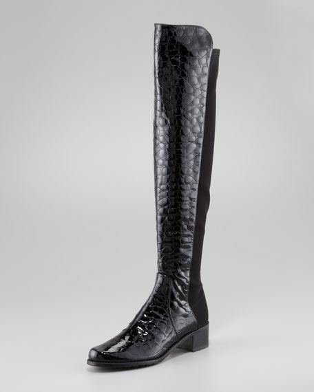 Reserve Crocodile-Embossed Back-Stretch Boot