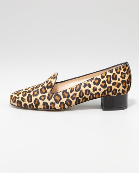 Fancy Leopard-Print Calf Hair Smoking Slipper