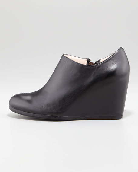 Dylan Leather Wedge Ankle Boot, Black