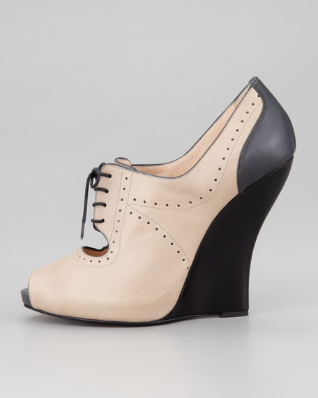 Peep Toe Lace-Up Oxford Wedge
