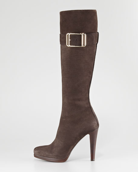 Buckled Suede Knee Boot