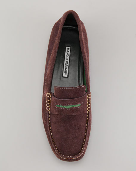 Terry-Trimmed Suede Driver, Brown