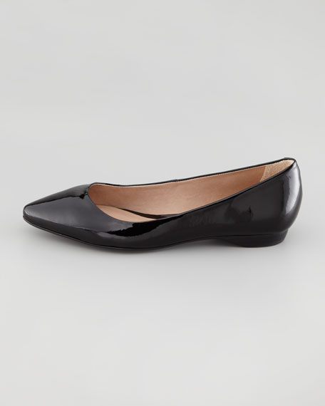 Bre Pointed-Toe Patent Skimmer, Black