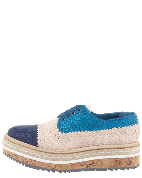 Woven Leather Lace-Up Espadrille