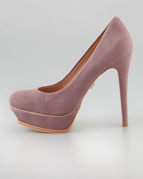 Portia Suede Platform Pump, Dusty Plum