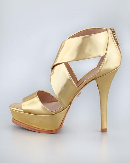 Tifara Crisscross Platform Sandal, Gold Mirror