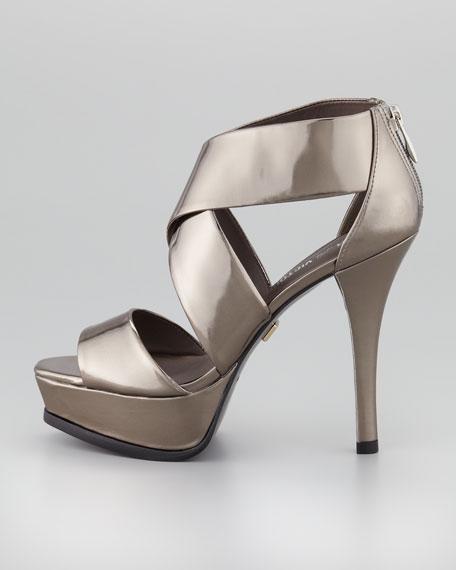 Tifara Crisscross Platform Sandal, Pewter Mirror
