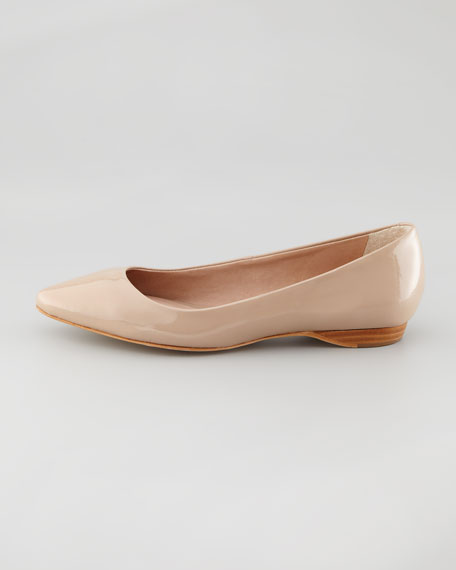 Bre Pointed-Toe Patent Skimmer, Tan