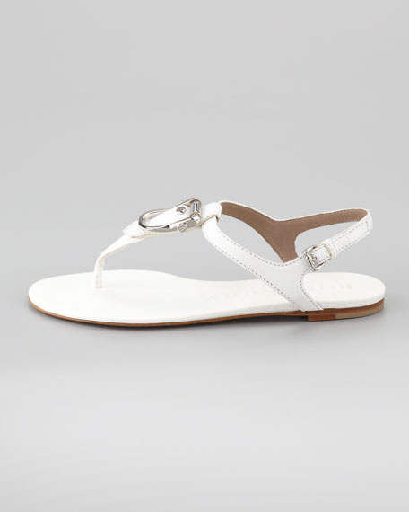 Flat Buckle Leather Thong Sandal, White