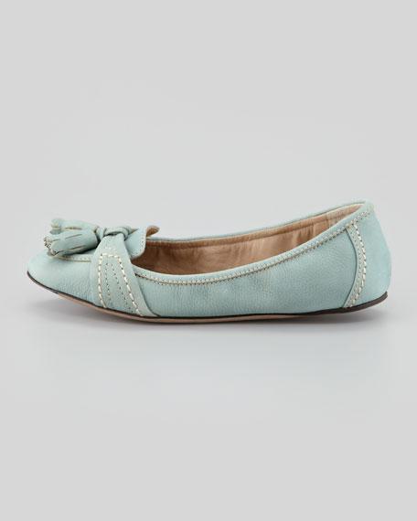 Suede Loafer Ballerina Flat, Chalk Green