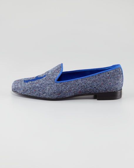 Audrey Tweed Smoking Loafer, Royal Blue