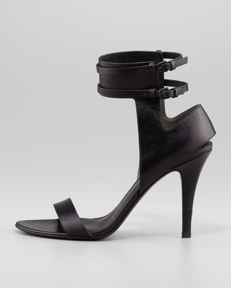 Johanna Ankle-Cuff Leather Sandal, Black