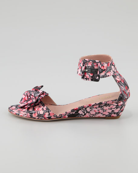 Lily of the Valley Low-Heel Bow Wedge