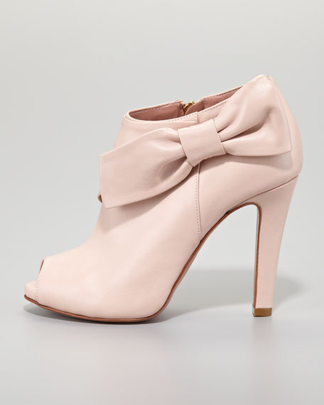 Leather Bow Peep-Toe Bootie, Petal Pink