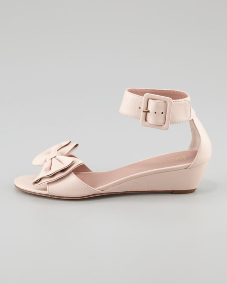Calfskin Low-Wedge Sandal, Cammeo