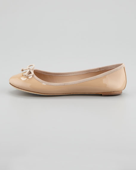 Chelsea Bow-Toe Patent Flat, Camilla Pink