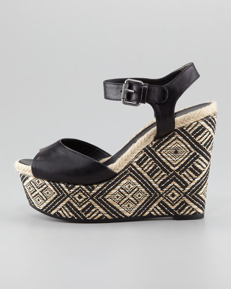 Malina Basket-Weave Wedge Sandal, Black/Natural